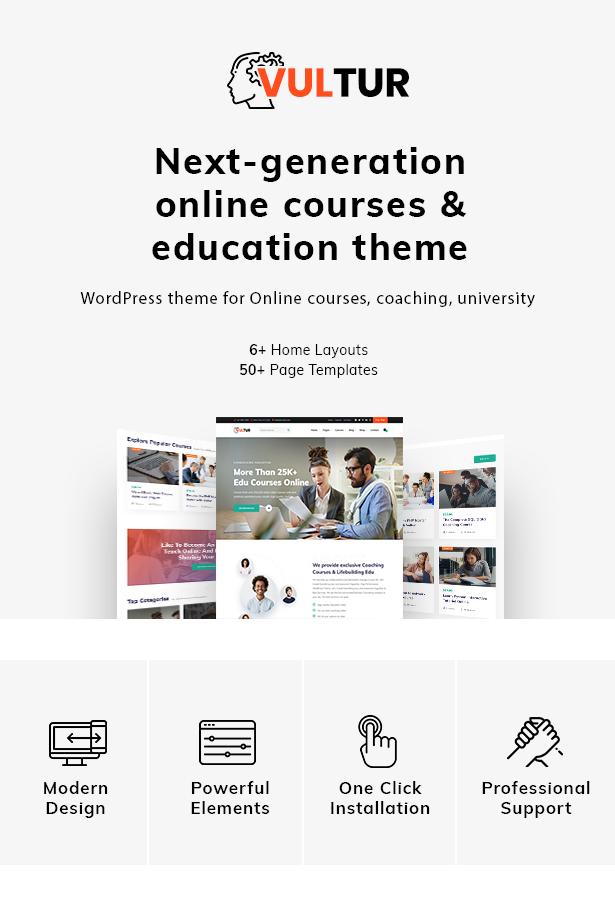 Coach Online Courses & LMS Education WordPress - Vultur - 1